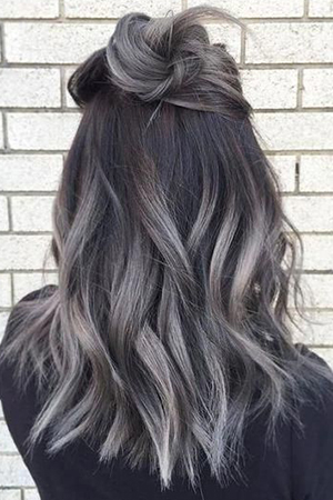 coloration ombré hair gris