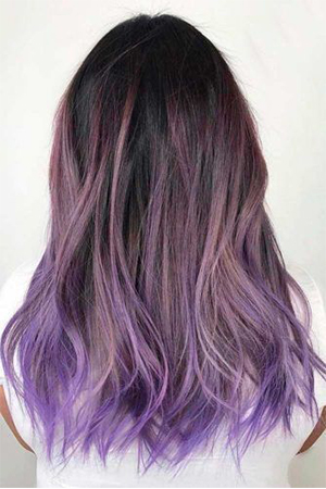 coloration ombré hair violet